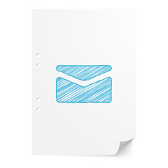 Blue handdrawn Mail illustration on white paper sheet with copy