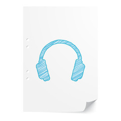 Blue handdrawn Headphones illustration on white paper sheet with