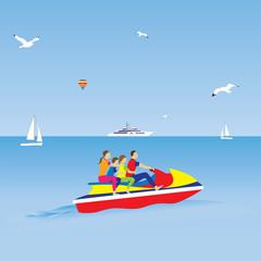 Family on a jet ski. Family vacation.