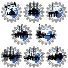 Badges with drilling rigs and oil pumps