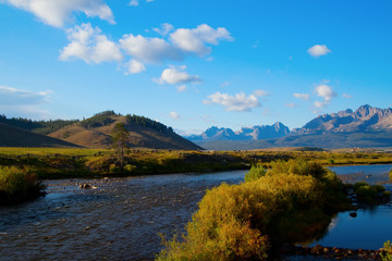 Salmon River and the Sawtooth Mountains at sunset near Stanley, Idaho