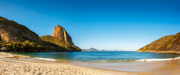 Vermelha Beach and Sugar Loaf panorama, late afternoon, Urca neighborhood, Rio de Janeiro, Brazil