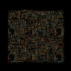 Abstract cityscape background on black, sketch for your design