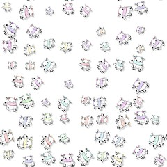 Seamless colored cow pattern with drop shadow on white