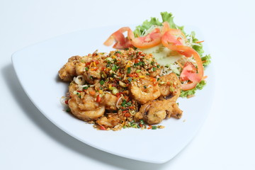 Spicy fried prawn with salad