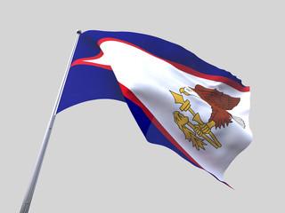 American Samoa flying flag isolate on white background.