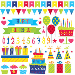 Birthday party Set with cupcake,present,banner,party hat, balloon, and birthday cake vector illustration.EPS 10 and hi-res jpg included