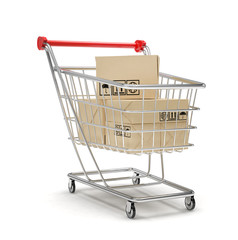 Shopping cart with parcel, 3d