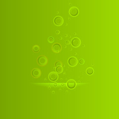 water original bubbles on the green background vector illustration for design