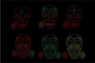 skull, Dia de los Muertos icons on black