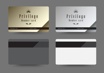 Gold and silver privilege card for member template design. vecto