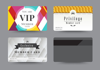 Business VIP member cards design template. vector illustration.