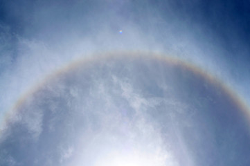 fantastic beautiful sun halo phenomenon in thailand
