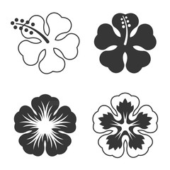 Vector hibiscus flowers set,flat design