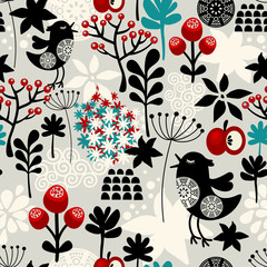 Floral seamless pattern with cute birds flowers.