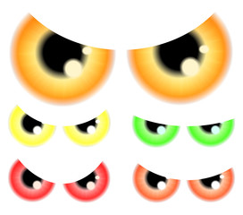Set of Happy Halloween spooky, scary eyes, eyeballs, iris, pupil.  Vector illustration isolated on white background.