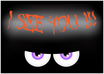 Image of Happy Halloween spooky background Flat design. Vector illustration of invitation card with scary bloody eyes, eyeballs with sign I see you