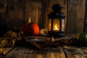 Halloween pumpkin moody picture with lantern
