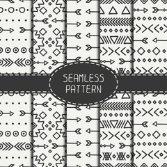 Set of hand drawn geometric ethnic seamless pattern. Wrapping