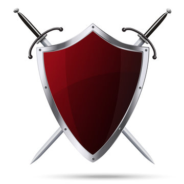 Glittering red metallic shield and two swords isolated
