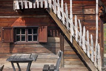 old wooden cabin log detail