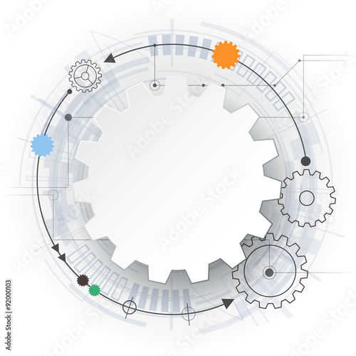 vector futuristic technology, 3d white paper gear wheel on circuit, Presentation templates