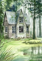 Haunted house in the coniferous forest original watercolor painting.