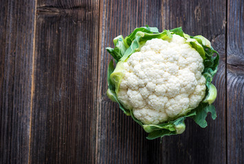 Cauliflower on wooden background