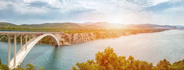 Scenic view of a bridge leading to an old town of Sibenik in Croatia