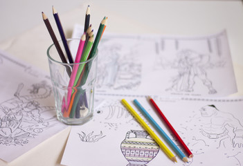Children coloring paper