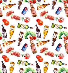 Beer bottles seamless pattern. Oktoberfest poster. Food and drink background concept. Hand drawn watercolor hand drawn