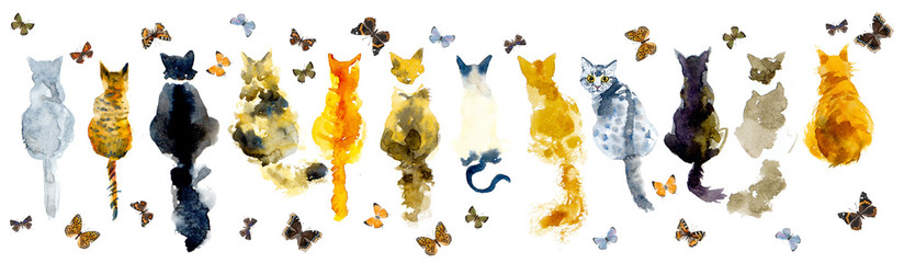 Cats and butterflies. Seamless border stripe. Watercolor hand drawn illustration
