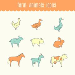 Funny icons of Farm animals.