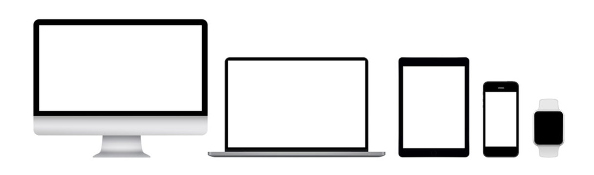 Modern computer monitor, laptop, tablet, phone and watch