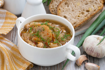 soup with cabbage and mushrooms