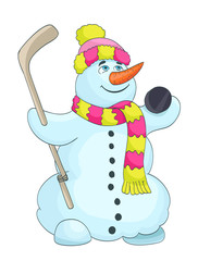 cartoon snowman with scarf, hat, and hockey stick. vector