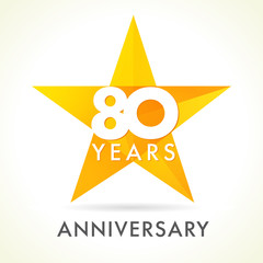80 anniversary star logo. Template logo 80th anniversary in star shape
