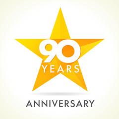 90 anniversary star logo. Template logo 90th anniversary in star shape
