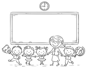 Schoolkids and teacher at the blackboard
