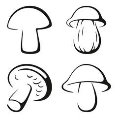 Mushrooms Black Icon Set