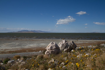 Shoreline of Great Salt Lake as seen from Antelope Island State Park in Utah