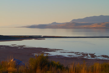 Great Salt Lake at sunset as seen from Antelope Island State Park in Utah