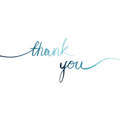 """blue watercolor words line on a white background """"thank you"""", vector illustration"""