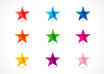 The colorful vector stars. The shining star icons in the shades of nine colors.