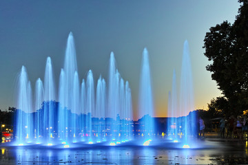 Fotobehang Fontaine Night photo of Singing Fountains in City of Plovdiv, Bulgaria
