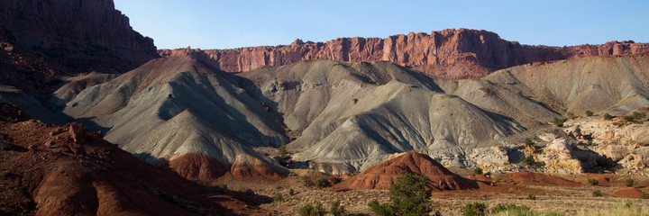 Grand geological formations characterize Capitol Reef National Park in Utah