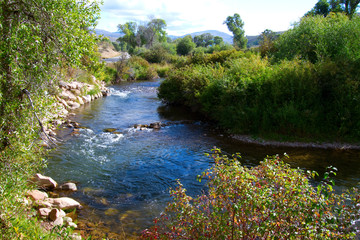Ogden River flows through the Wasatch Mountains of Utah
