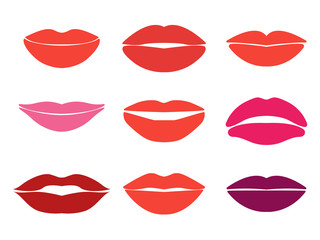 Woman lips. Vector set of lips silhouettes. Custom shapes
