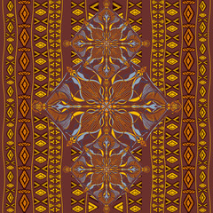 Ethnic tribal pattern with decorative ornaments