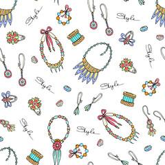 Vector seamless pattern of hand drawn fashionable jewelry. Pattern with necklaces, earrings, brooches and bracelets for women. Background for use in design, web site, packing, textile, fabric